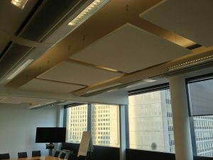 Sound absorbing panels installed on roof