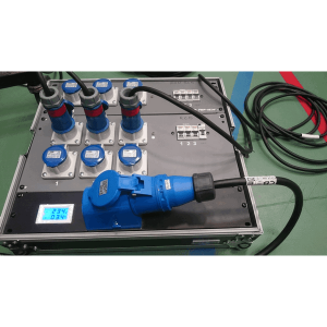 32A single phase distribution unit in flight case with electric meter