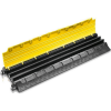 1meter long cable bridge cover to protect cables from vehicles and tripping when crossing a surface. Interlocked heavy duty rubber with yellow high visibility top