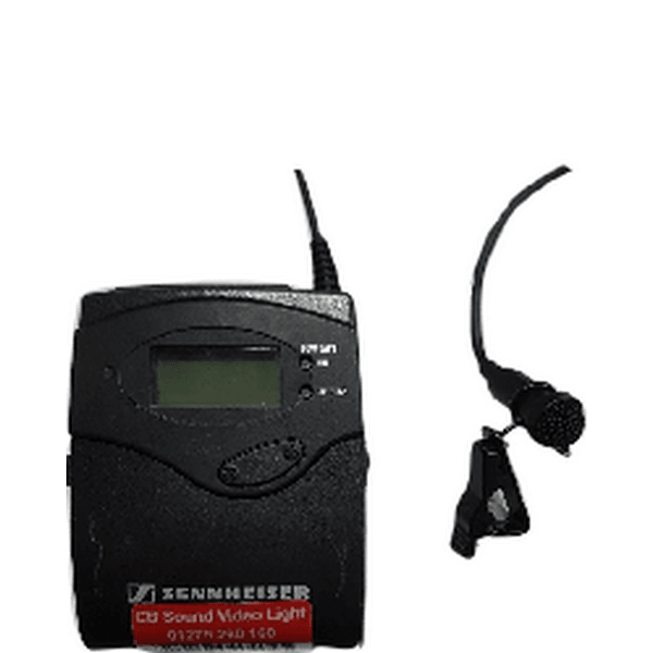 Sennheiser beltpack transmitter with me2 lapel microphone