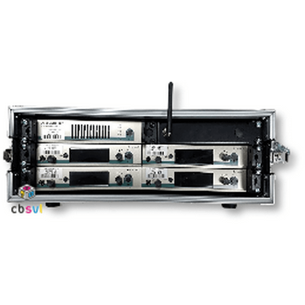 Rack of 4 sennheiser in ear monitor transmitters with an aerial combiner unit to provide wireless audio monitoring