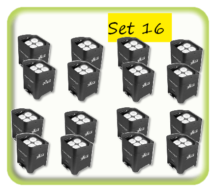 Package of 16 battery uplighters hire